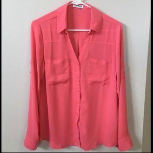 Express The Portofino Shirt Size Medium Top Pink